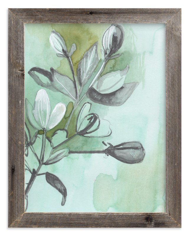"""Botanical Sketch in Green"" - Art Print by Makewells in beautiful frame options and a variety of sizes."