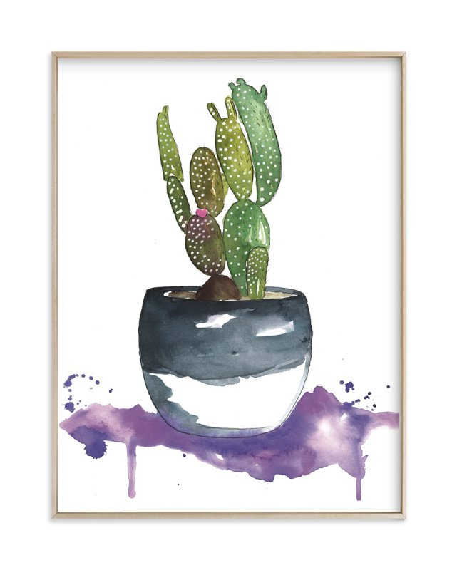 """The Potted Cactus"" - Art Print by Kelsey McNatt in beautiful frame options and a variety of sizes."