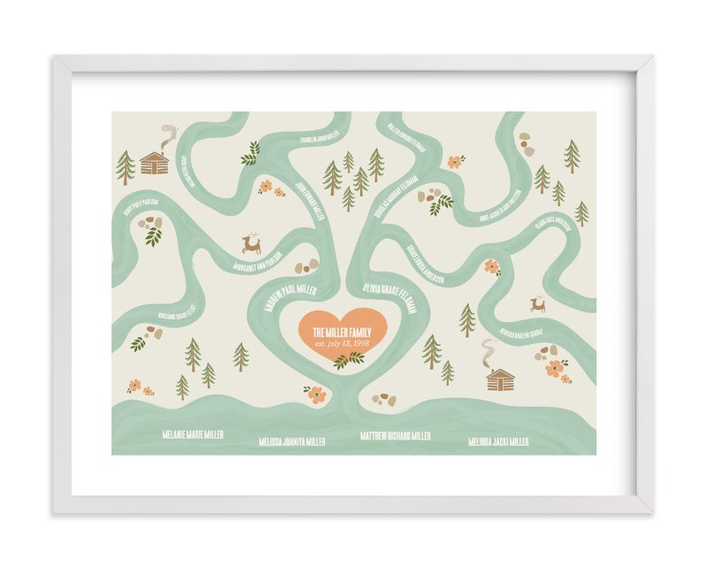 """Heritage Stream"" - Family Tree Custom Art Print by Melanie Severin in beautiful frame options and a variety of sizes."