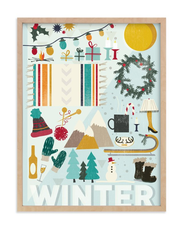 """4 Seasons : Winter"" - Art Print by Kate Capone aka Oh So Suite in beautiful frame options and a variety of sizes."