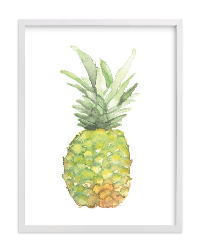 """Watercolor Piña"" - Art Print by Lily Hanna in beautiful frame options and a variety of sizes."