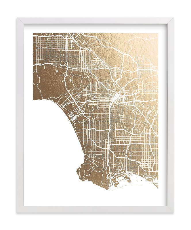 Los Angeles Wall Art los angeles map foil-pressed wall artalex elko design | minted