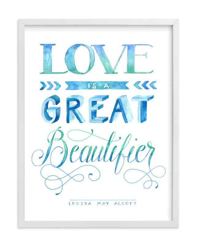 """""""Love Beautifying in Watercolor"""" - Art Print by Jenna Blazevich in beautiful frame options and a variety of sizes."""