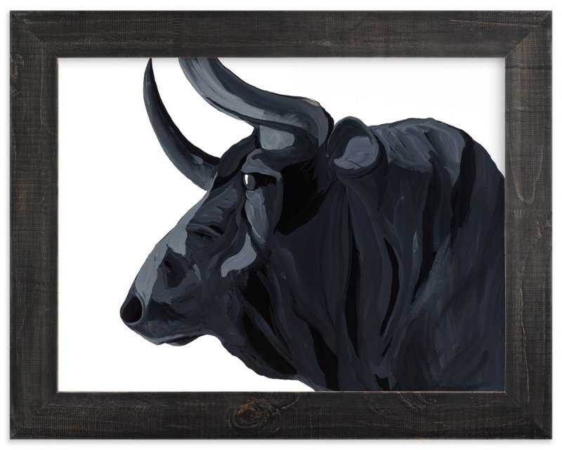 """Bull"" - Art Print by J. Wink in beautiful frame options and a variety of sizes."