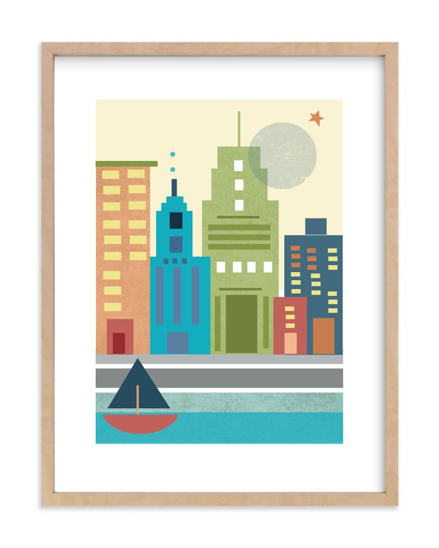 """A Day in the City"" - Art Print by Alison Jerry Designs in beautiful frame options and a variety of sizes."
