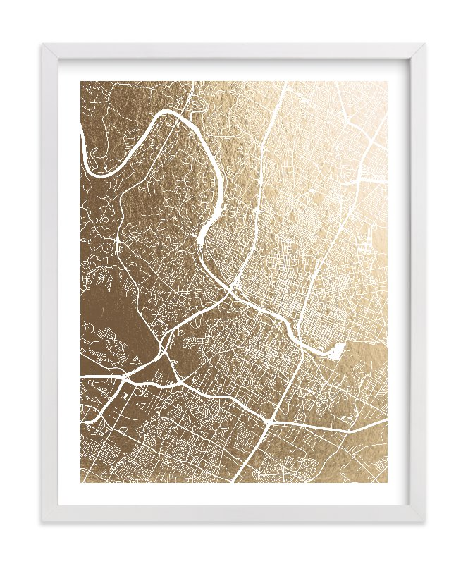 """""""Austin Map"""" - Foil-pressed Art Print by Alex Elko Design in beautiful frame options and a variety of sizes."""