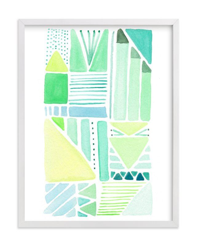 """""""Geo Painted One"""" - Art Print by Shiny Penny Studio in beautiful frame options and a variety of sizes."""