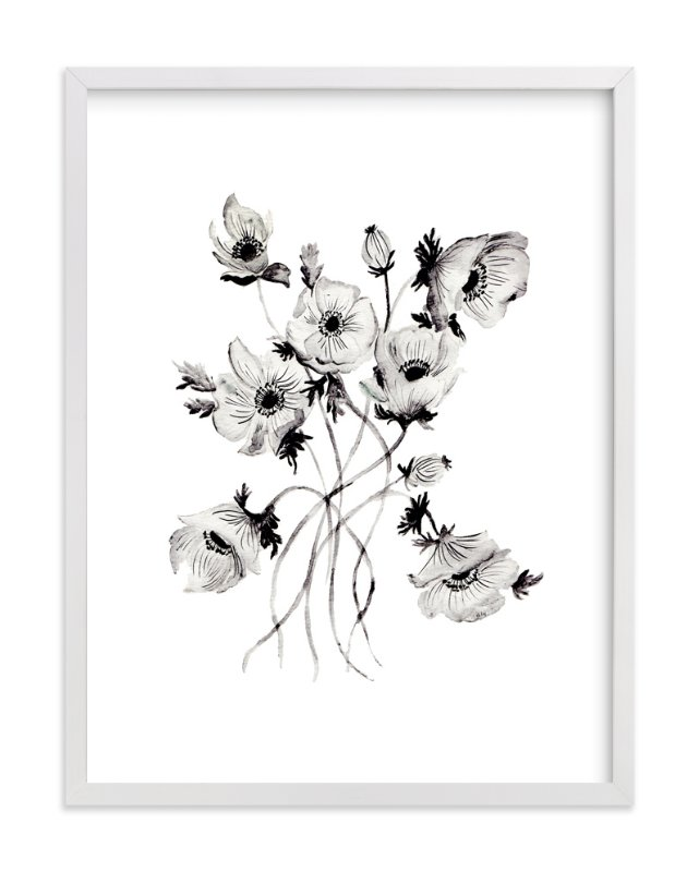 """Greyscale Poppies"" - Art Print by Shannon Kirsten in beautiful frame options and a variety of sizes."
