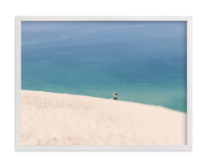 """""""Lone Sunbather on Dunes"""" - Art Print by Heather Nash in beautiful frame options and a variety of sizes."""