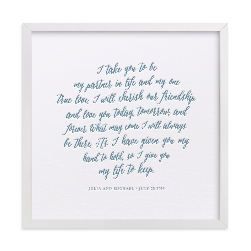 """""""Your Vows as a Letterpress Art Print"""" - Drawn Letterpress Art by Minted in beautiful frame options and a variety of sizes."""
