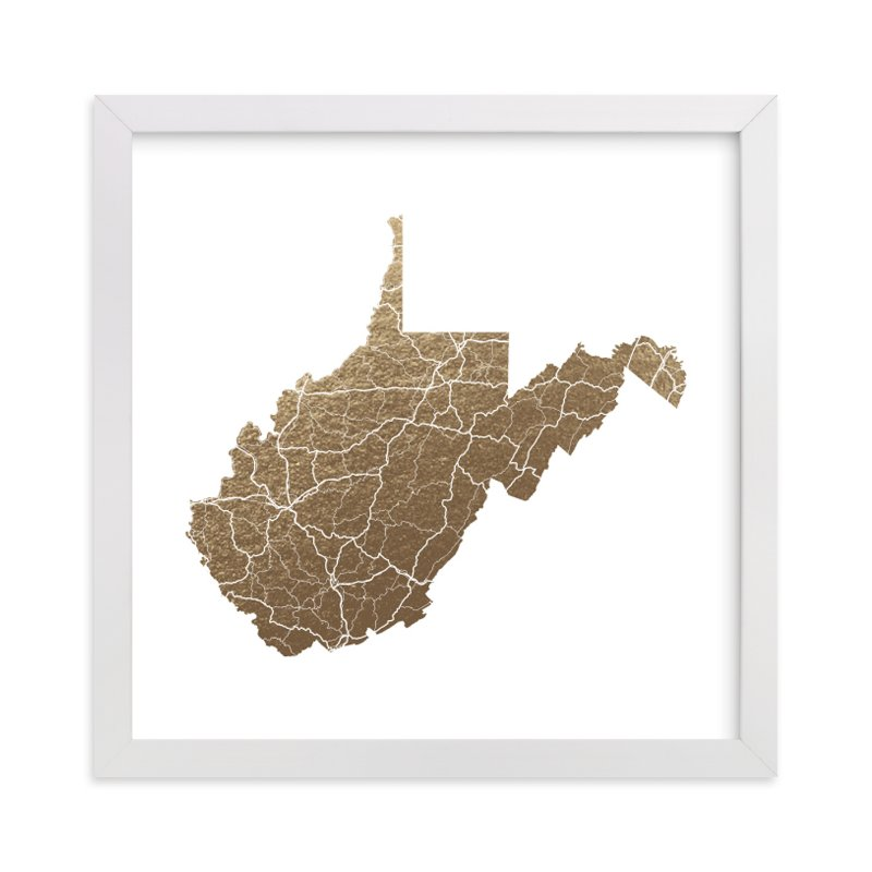 """West Virginia Map"" - Foil-pressed Art Print by GeekInk Design in beautiful frame options and a variety of sizes."