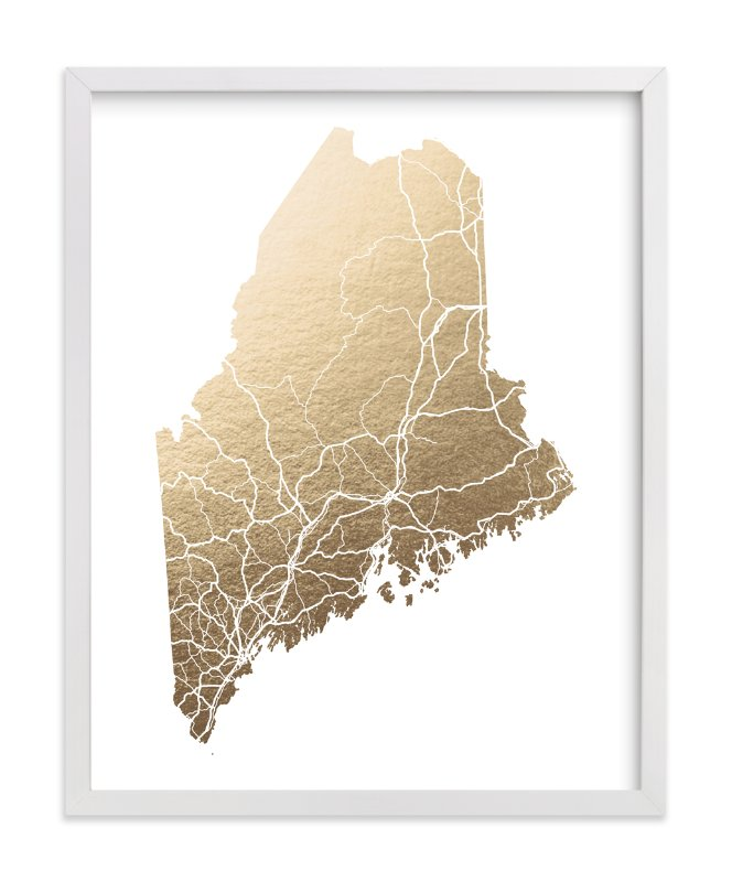 Maine Map FoilPressed Wall Art By GeekInk Design Minted - Map maine