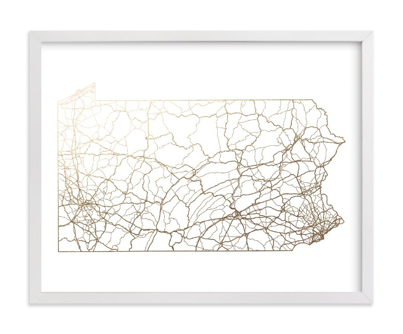 """""""Pennsylvania Map"""" - Foil-pressed Art Print by GeekInk Design in beautiful frame options and a variety of sizes."""
