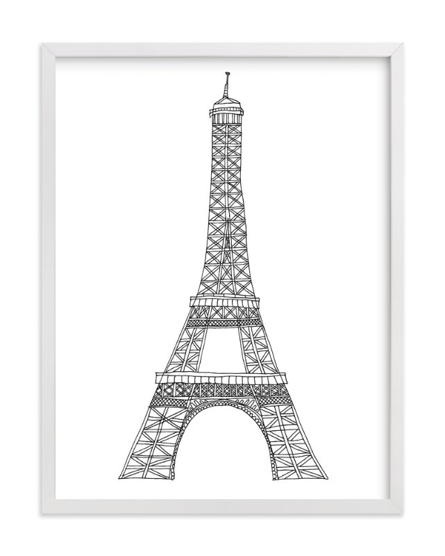 """Eiffel Tower in Pen"" - Art Print by Sharon Rowan in beautiful frame options and a variety of sizes."