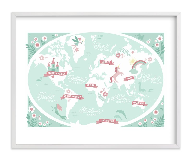 """Enchanted World Map"" - Art Print by Jessie Steury in beautiful frame options and a variety of sizes."