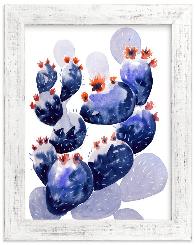 """""""Cacti & Flowers"""" - Art Print by Miren in beautiful frame options and a variety of sizes."""