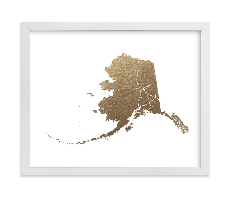 """Alaska Map"" - Foil-pressed Art Print by GeekInk Design in beautiful frame options and a variety of sizes."