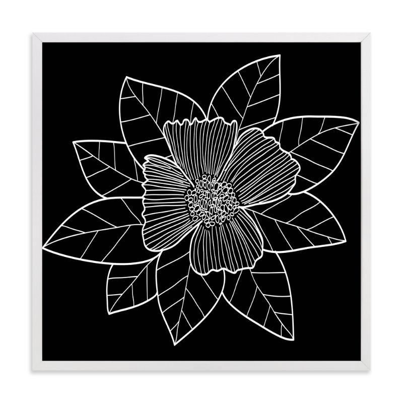 """doodle leaves & flower"" - Art Print by aticnomar in beautiful frame options and a variety of sizes."