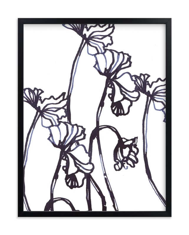 """Ink Cyclamen"" - Art Print by Sonal Nathwani in beautiful frame options and a variety of sizes."