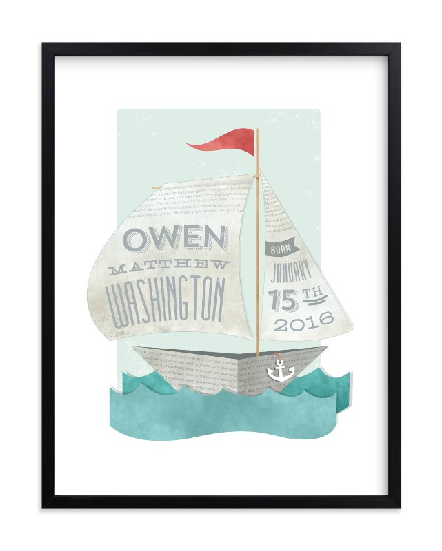 """Newspaper Sailboat"" - Nursery Custom Art Print by Susie Allen in beautiful frame options and a variety of sizes."