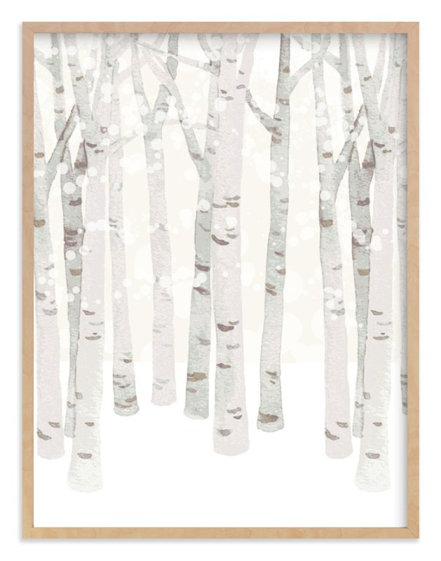 """Birch Woods in Winter"" - Art Print by Four Wet Feet Studio in beautiful frame options and a variety of sizes."