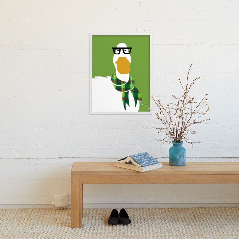 """""""Hipster Duck"""" - Art Print by Mayel in beautiful frame options and a variety of sizes."""
