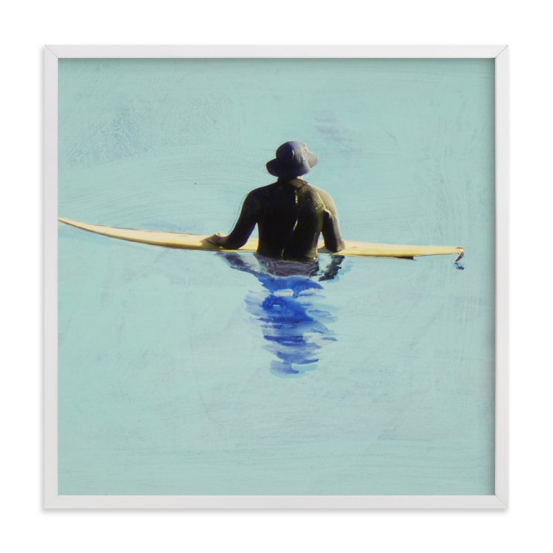 """Topanga Hat Wearing Surfer"" - Art Print by Annie Seaton in beautiful frame options and a variety of sizes."