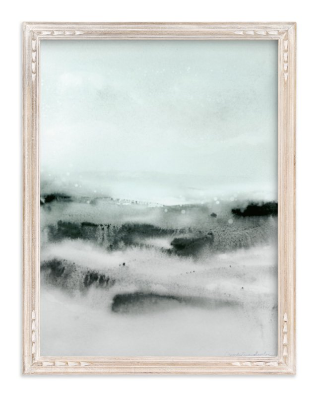 """Watercolor Abstract Lands Series : Winter 2"" - Art Print by Marta Spendowska in beautiful frame options and a variety of sizes."