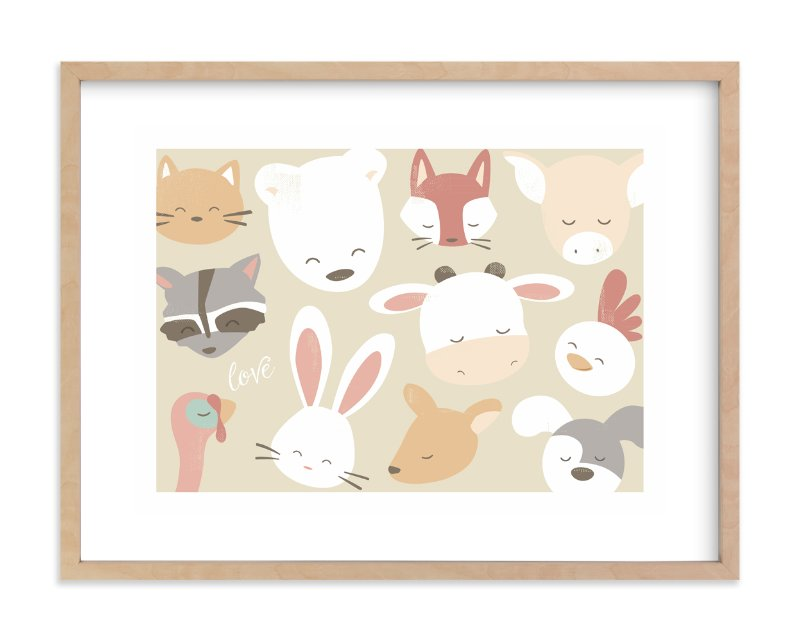 """love animals"" - Art Print by peetie design in beautiful frame options and a variety of sizes."
