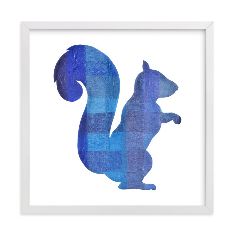 """""""Blue Party Squirrel"""" - Art Print by Jeff Preuss in beautiful frame options and a variety of sizes."""
