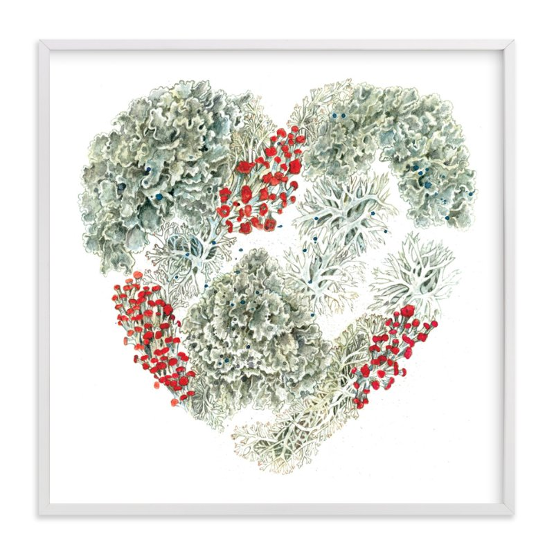 """Lichen Heart"" - Art Print by Eve Schultz in beautiful frame options and a variety of sizes."