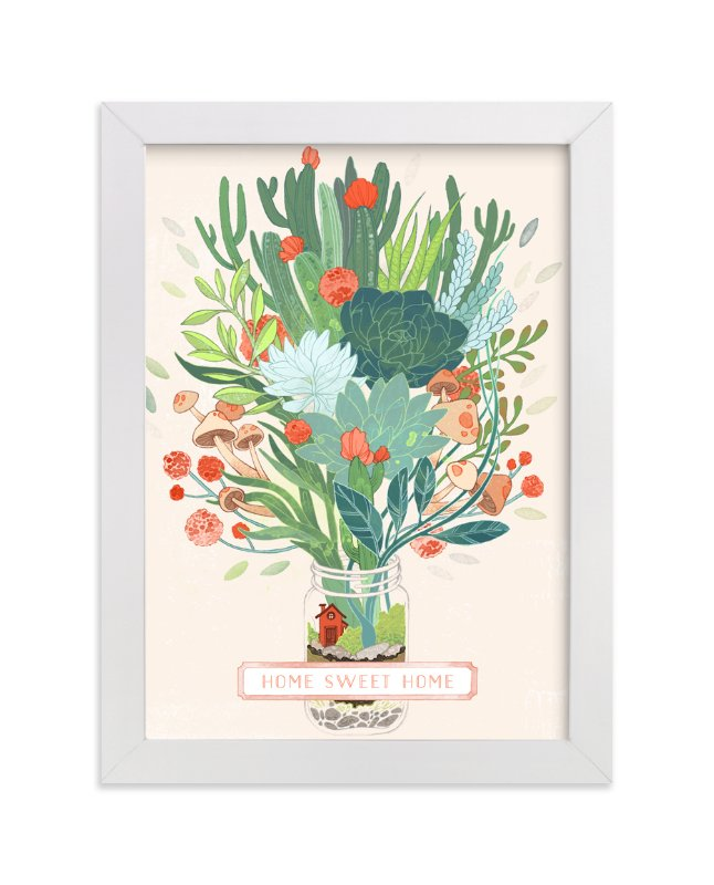 """""""Little Terrarium Succulent Illustration"""" - Art Print by Erin McManness in beautiful frame options and a variety of sizes."""
