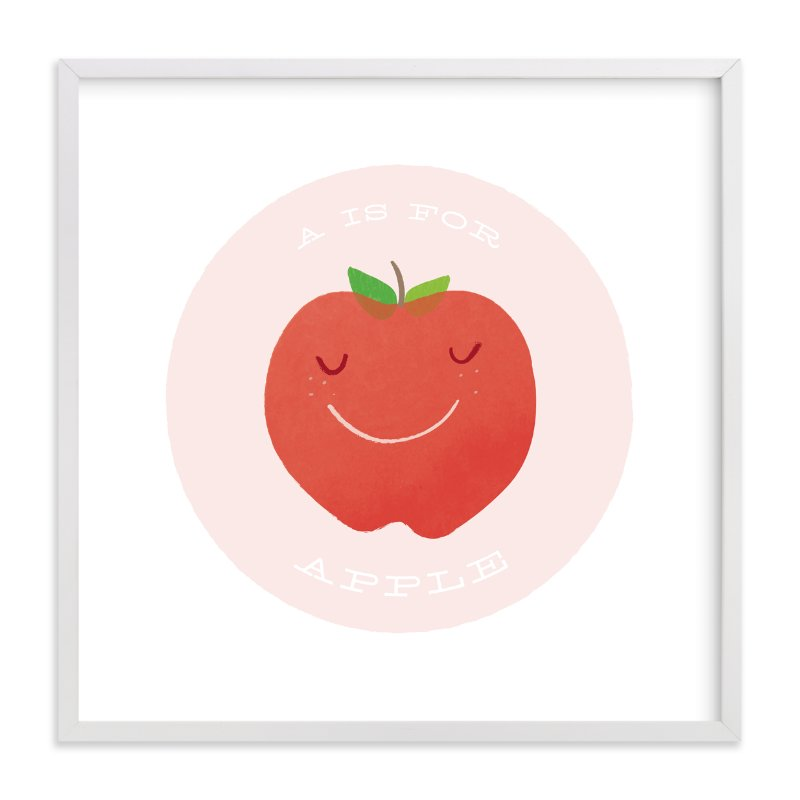 """A is for Apple"" - Art Print by Lacie Cunningham in beautiful frame options and a variety of sizes."