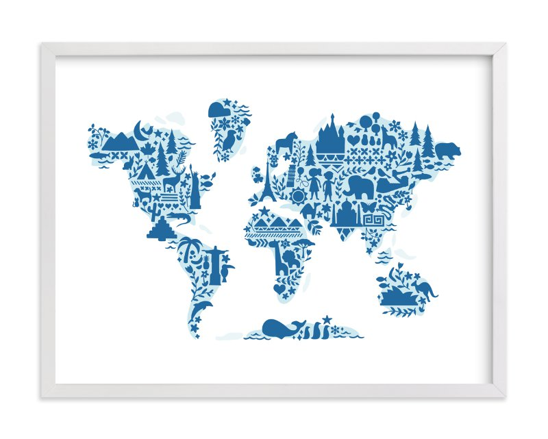 Little big world map wall art prints by jessie steury minted little big world map by jessie steury in beautiful frame options and a variety sciox Images