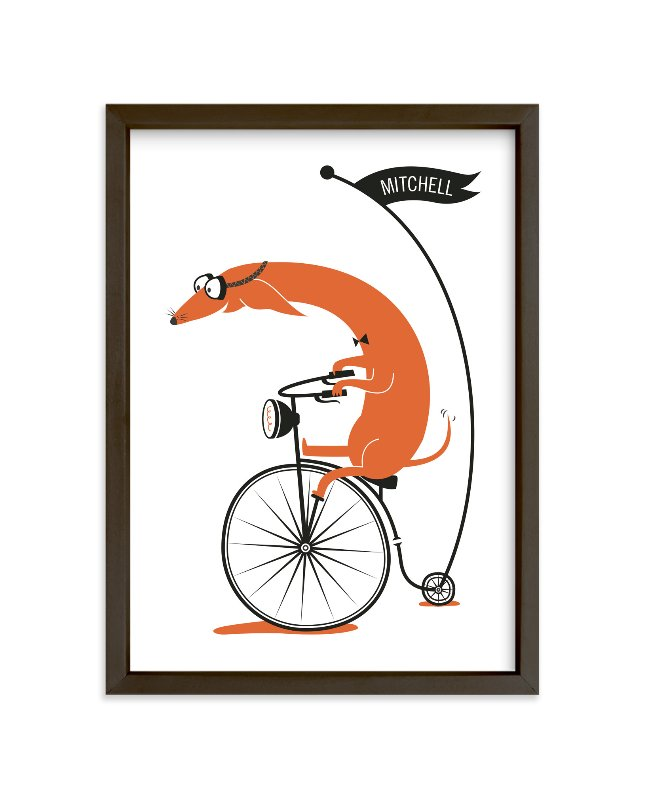"""Cycling Sausage"" - Children's Custom Art Print by Kayla King in beautiful frame options and a variety of sizes."
