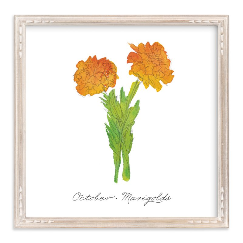 """October Marigold"" - Art Print by Liz Conley in beautiful frame options and a variety of sizes."