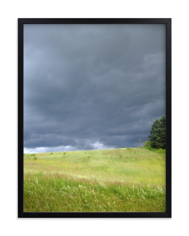 """Green Fields, Bruised Skies "" - Art Print by Kate Binns in beautiful frame options and a variety of sizes."