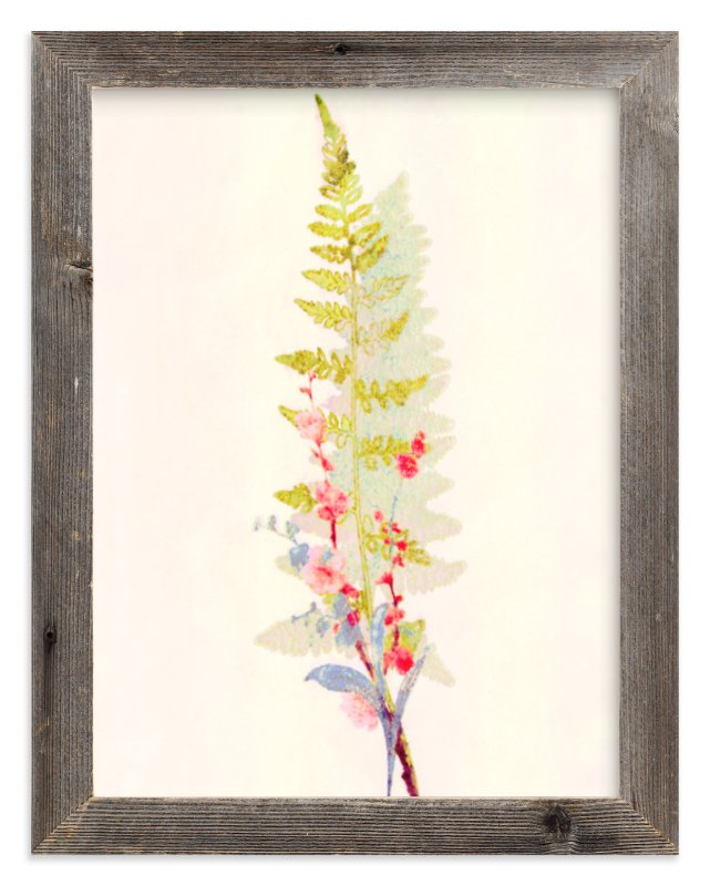 """""""Spring Fern and Flowers"""" - Art Print by hadley hutton in beautiful frame options and a variety of sizes."""