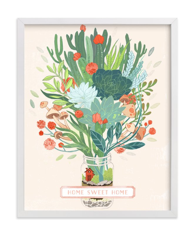 """""""Little Terrarium Succulent Illustration"""" - Art Print by Paper Raven Co. in beautiful frame options and a variety of sizes."""