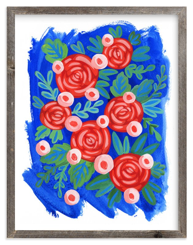 """""""Red Roses."""" - Art Print by Alexandra Dzh in beautiful frame options and a variety of sizes."""