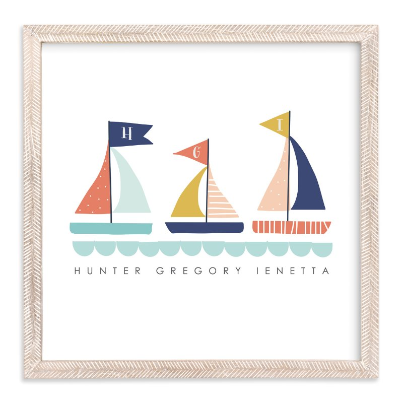 """""""Sailing Away"""" - Children's Custom Art Print by Lisa Nelson in beautiful frame options and a variety of sizes."""