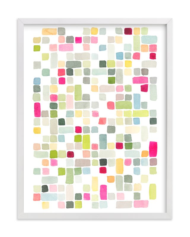 """""""Pink and Gray Squares"""" - Art Print by Yao Cheng Design in beautiful frame options and a variety of sizes."""