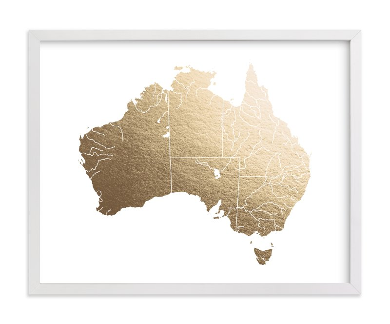 """""""Australia Map"""" - Foil-pressed Art Print by Jorey Hurley in beautiful frame options and a variety of sizes."""