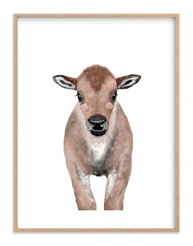 """""""Baby Animal Bison"""" - Art Print by Cass Loh in beautiful frame options and a variety of sizes."""