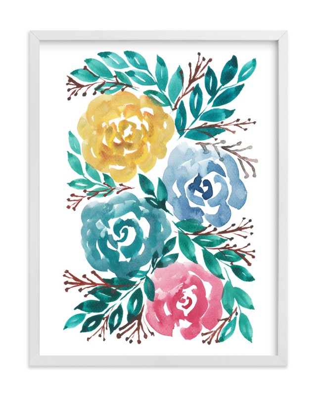 """hand painted flowers_1H"" - Art Print by aticnomar in beautiful frame options and a variety of sizes."