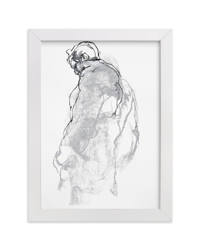 """Drawing 357 - Figure from the Side"" - Art Print by Derek overfield in beautiful frame options and a variety of sizes."