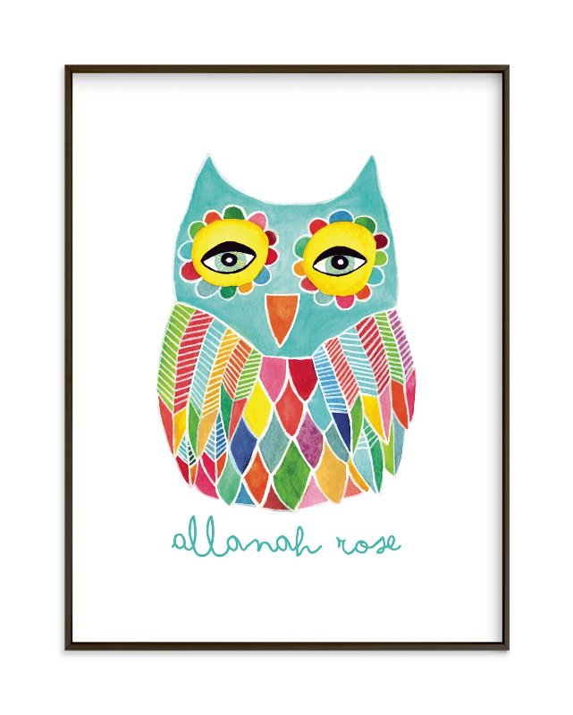"""Watercolor Rainbow Owl"" - Children's Custom Art Print by Pip Gerard in beautiful frame options and a variety of sizes."