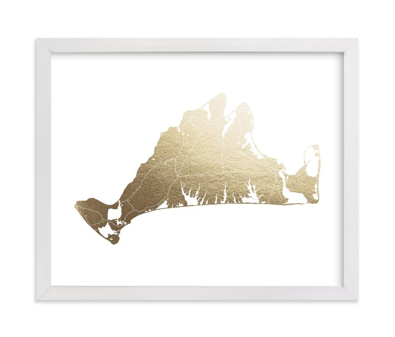 """""""Martha's Vineyard Map"""" - Foil-pressed Art Print by Snow and Ivy in beautiful frame options and a variety of sizes."""