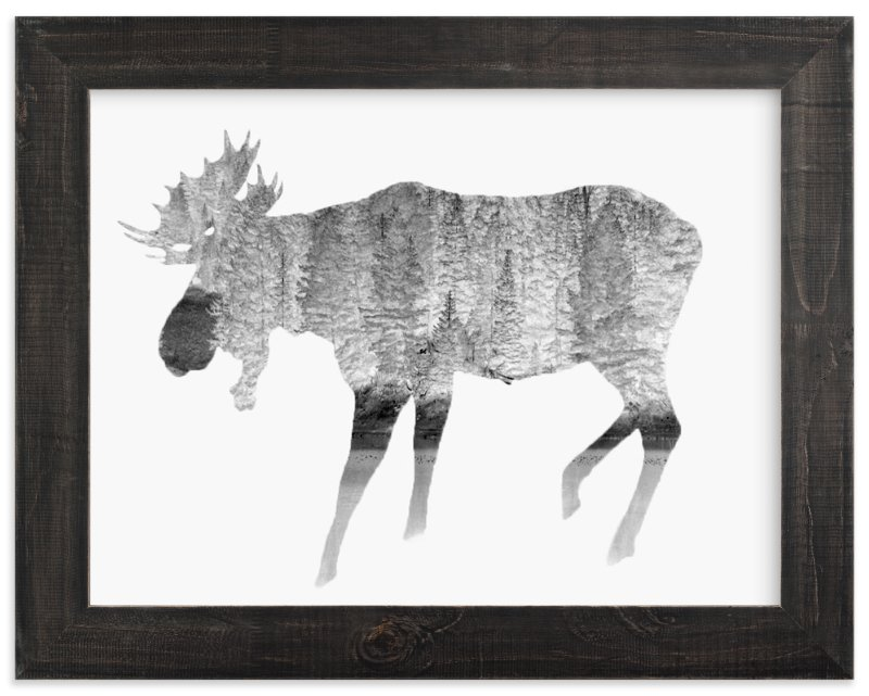 """Silver Moose"" - Art Print by Laura Morris in beautiful frame options and a variety of sizes."
