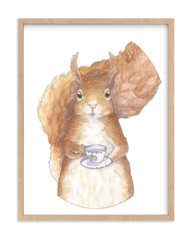 """""""Proper Squirrel"""" - Art Print by Natalie Groves in beautiful frame options and a variety of sizes."""